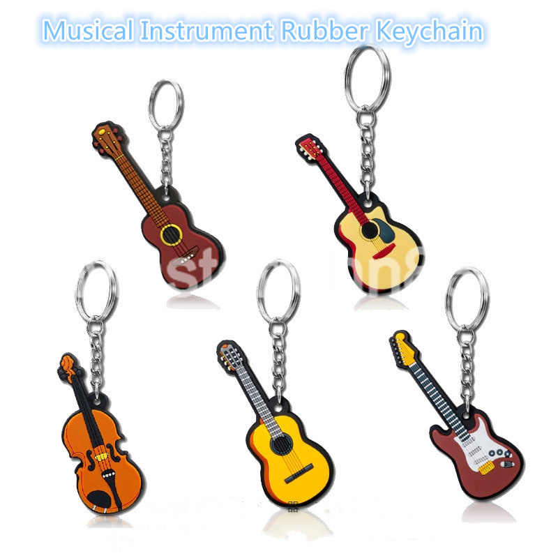 1 cái Cao Su Acoustic/Cổ Điển/Điện Guitar Ukulele Violin Móc Khóa Vòng Chìa Khóa Bán Buôn
