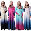 Турецкие женщины одежда Мусульманская абая Платье фотографии мусульманского джилбаба и abayas Моды Радуга Градиент цвета Исламский халат платье