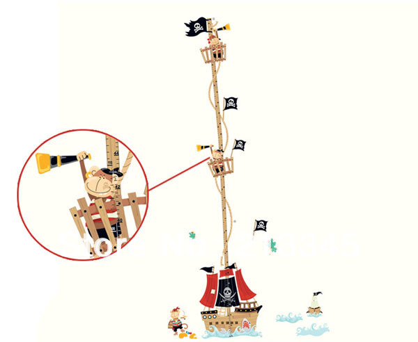 [Fundecor] new product kids room pirate ship decals pirates decor wall stickers children's height measurement chart