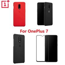 Oficial oneplus 7 caso personalizado silicone arenito náilon pára choques flip capa de vidro temperado para original oneplus 7