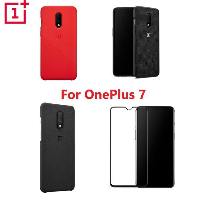 公式 OnePlus 7 ケース別注シリコーン砂岩ナイロンバンパーフリップカバー強化ガラスのためのオリジナル OnePlus 7