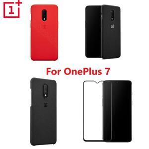 Image 1 - غطاء هاتف OnePlus 7 رسمي مصنوع من السيليكون المصنوع من الحجر الرملي والمصد المصنوع من النيلون زجاج مقسى لهاتف OnePlus 7 الأصلي