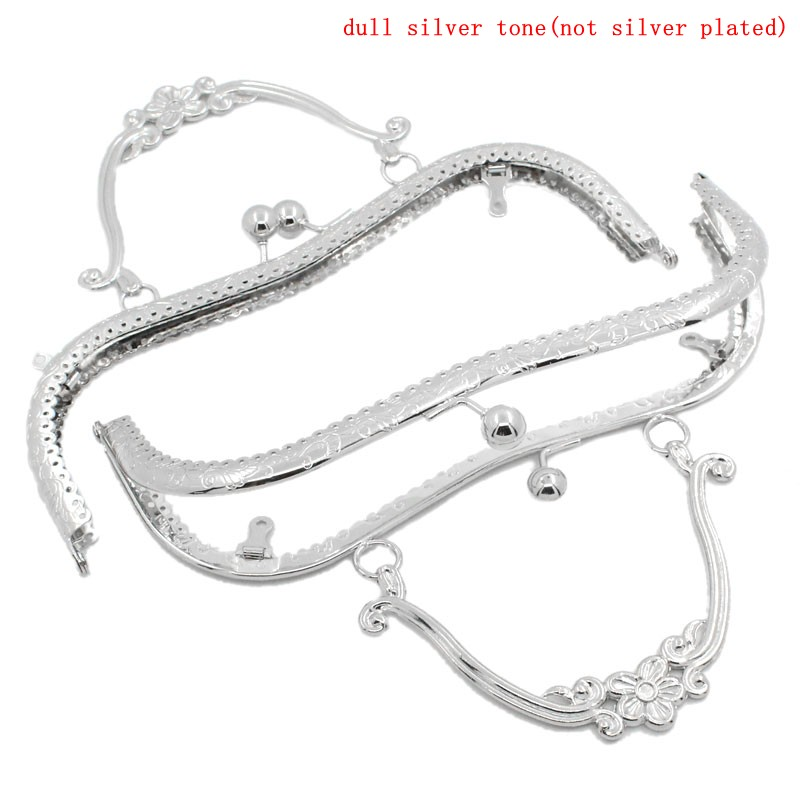 PACGOTH Iron Based Alloy Kiss Clasp Lock Purse Frame Arch Silver Tone Flower 21x9cm, Open Size: 21x17cm, 1 Piece fggs 1pc metal purse bag frame kiss clasp lock silver tone size 16 5x9 5cm