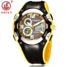 OHSEN Brand Fashion Rubber Watch Men Sport Waterproof 30M Original Analog Digital Quartz Sports Wrist watches Mens Gift