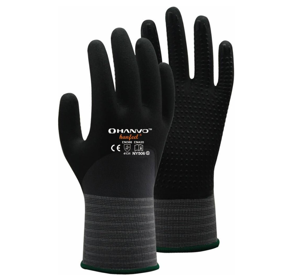 Work Glove 2 Pairs  Nylon Spandex With Nitrile Foam 3/4 Dipped Safety Glove