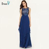 Dressv azul drapeado longa noite vestido caixilhos tornozelo comprimento mangas do pescoço da colher lace elegante vestidos de noite formal vestido de festa