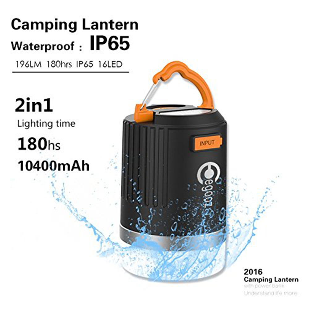 ФОТО Waterproof Rechargeable Flashlights Outdoor Survival Camping LED Lantern with 10400mAH Power Bank for Hiking, Trekking, Fishing