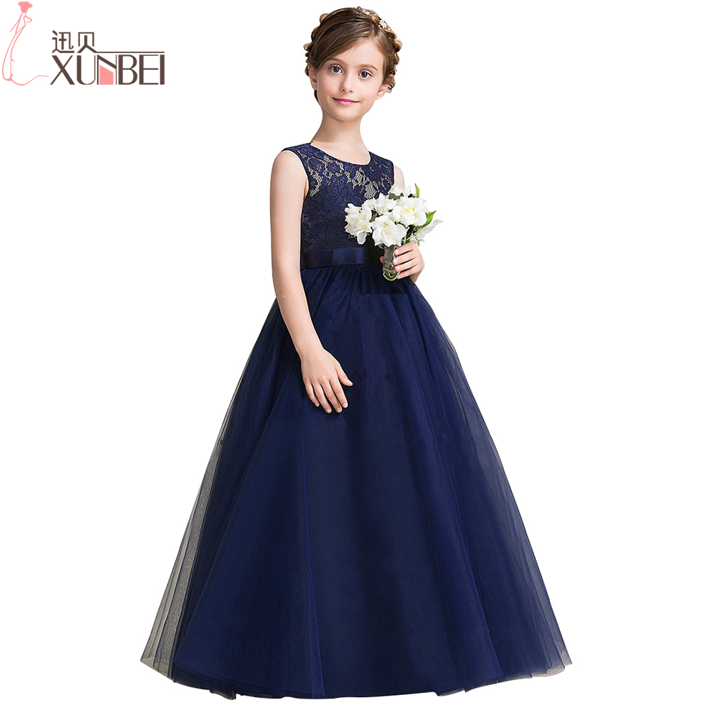 Gowns For Girls: Navy Blue Lace Flower Girl Dresses 2018 Soft Tulle O Neck