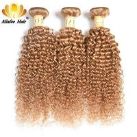 Ali Afee Hair Blonde Kinky Curly Brazilian Hair Weave Bundles Deals #27 Color Brazilian Kinky Curly Bundles 100% Human Hair