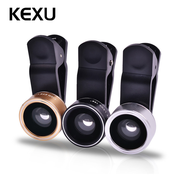 e0ef17f4ec6ebc KEXU 3 in 1 Fish eye Lens selfie Wide Angle mobile phone fisheye Lenses For  iPhone 5 7 6 plus ipad Smartphone Camera lens