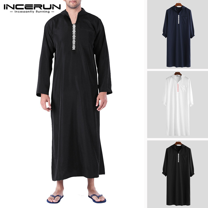 INCERUN 2020 Islamic Arab Muslim Kaftan Men Hooded Retro Long Sleeve Loose Robes Abaya Caftan Saudi Arabia Dubai Jubba Thobe Men