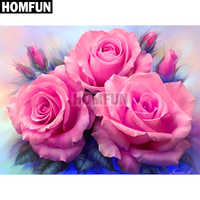 "HOMFUN Full Square/Round Drill 5D DIY Diamond Painting ""Pink rose"" Embroidery Cross Stitch 5D Home Decor Gift A02623"