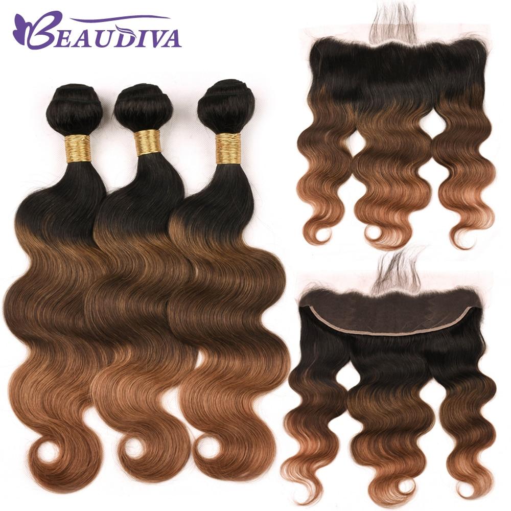 3 Tone Brazilian Body Wave Bundles With 13*4 Lace Frontal Free Part 2/3 Bundles Human Hair Free Shipping