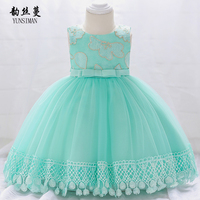 Baby Dress for 3 6 9 12 18 24 Months O neck Embroidery Light Green Mesh First Birthday Party Dresses Girl Princess Costume 6M6A