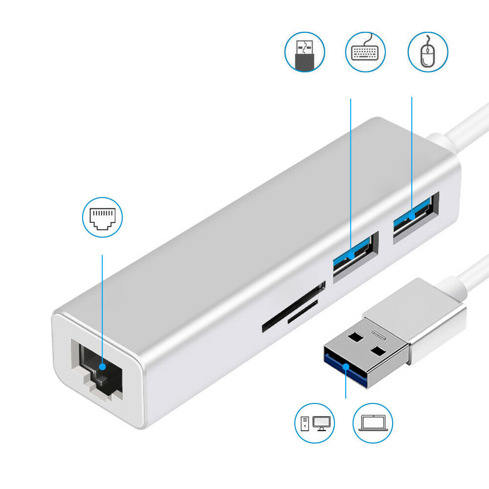 USB 3.0 To USB 3.0 HUB With RJ45 Gigabit Ethernet / SD / TF Card Reader Adapter