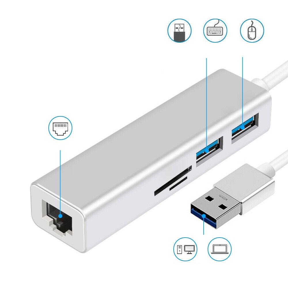 USB 3.0 To USB 3.0 HUB With RJ45 Gigabit Ethernet / SD / TF Card Reader Adapter