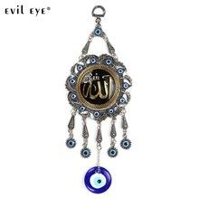 Mauvais œil alliage peinture huile ronde coran tenture murale bijoux pendentif avec bleu mauvais œil perles EY5037