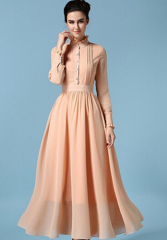 Free Shipping High Quality Retro Hot Sale Stand Collar Long Sleeve Pleated Woman Long Chiffon Dress
