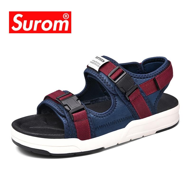 SUROM Brand Men s Summer Outdoor Shoes 2018 New Designer Beach Sandals Unisex Neutral Flats Breathable