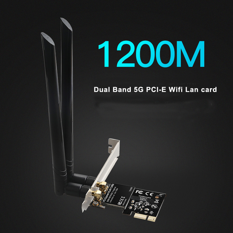 DIEWU Dual Band 5G 1200Mbps PCIe WIFI wireless lan network card pci express wifi adapter Realtek 8112AE chip(China)
