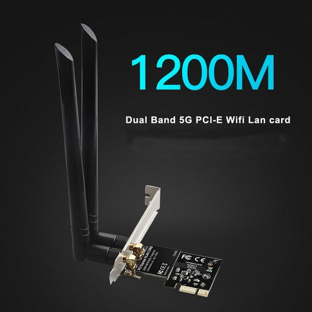 DIEWU Dual Band 5G 1200Mbps PCIe WIFI wireless lan network card pci express wifi adapter Realtek 8112AE chip