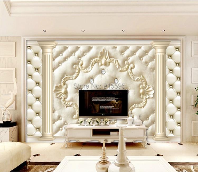 Europejski styl roman kolumna miękkie opakowanie stereoskopowe 3d niestandardowy mural tapety salonie kanapa włókniny tv tło tapety 10