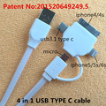 4 in 1 USB TYPE C cable charging and data sync Applicable to celulares riphone 5 mhl adapter pionner cubot x16magnetic usb cable