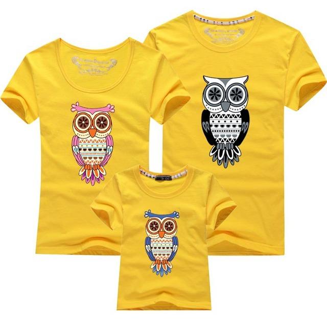 Familia ropa moda de estilo de verano de dibujos animados camisetas padre madre niños niños trajes nuevos de la marca Tees familia ropa a juego
