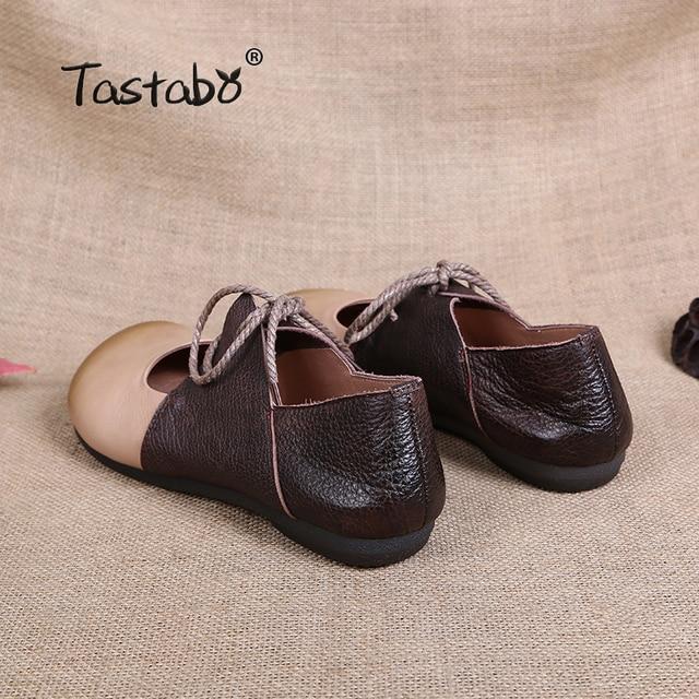 Tastabo en cuir véritable chaussure plate femmes enceintes chaussure mère conduite chaussure femme mocassins mode femmes chaussures plates à coudre à la main