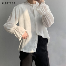 2019 New Elegant Office White Blouse Women Single Breasted Long Sleeve Tops Shirt Spring autumn Casual Chiffon