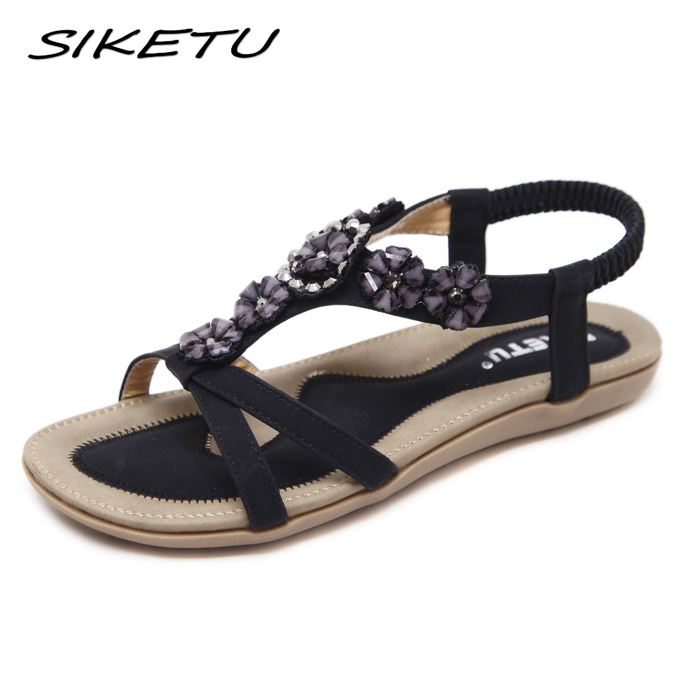 SIKETU Ethnic Sandals Flower Elastic-Band Shoes Woman Rhinestone Flat Fashion 35-45 New