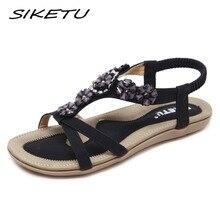 a798bc049 SIKETU New Bohemia sandálias sapatos mulher moda rhinestone flower macio  sandálias de praia plana elástico Sandálias