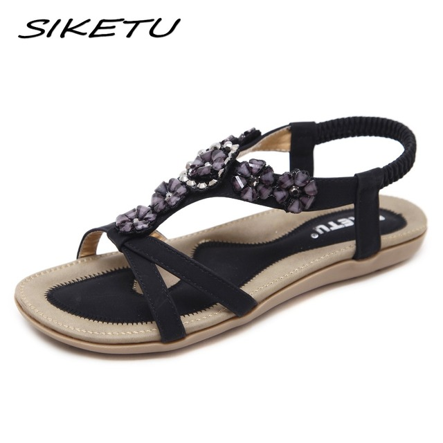 SIKETU New Bohemia sandals shoes woman fashion rhinestone flower soft flat  beach sandals Elastic band ethnic Sandals 35-45 7f37567d097f
