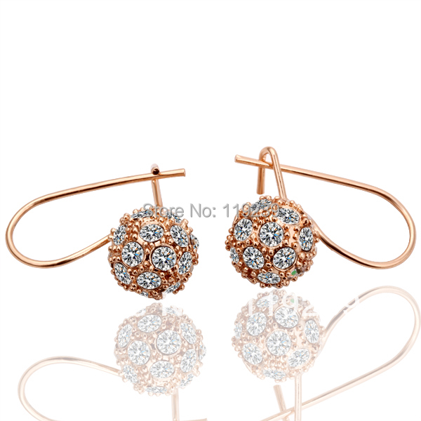 LE019 High Fashion Rose Gold Color Items Simulated Pave Ball Hoop
