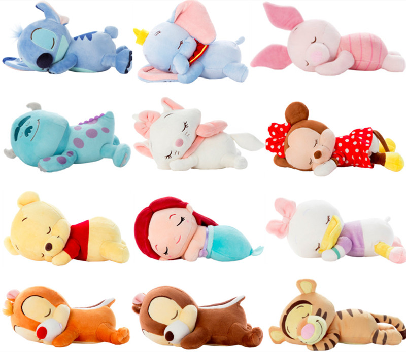 Cute Lying Sleeping Stitch Little Mermaid Chip Dale Marie Cat Piglet Daisy Donald Duck Dumbo Bear Plush Toy Stuffed Animals lovely cartoon plush toy totoro stitch michey marie cat cat donald duck dumbo tissue box cover paper towel cases gift 1pc