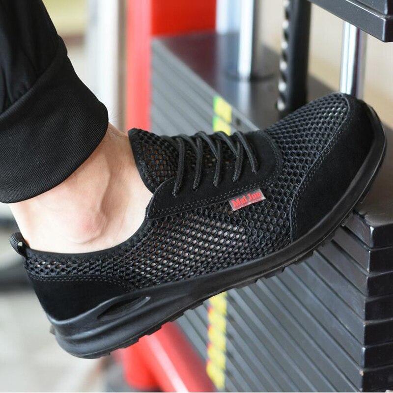 Chaussures homme grande taille en acier respirant orteil chaussure de travail été bottes de sécurité zapatillas de seguridad hombre indestructible ouvrier