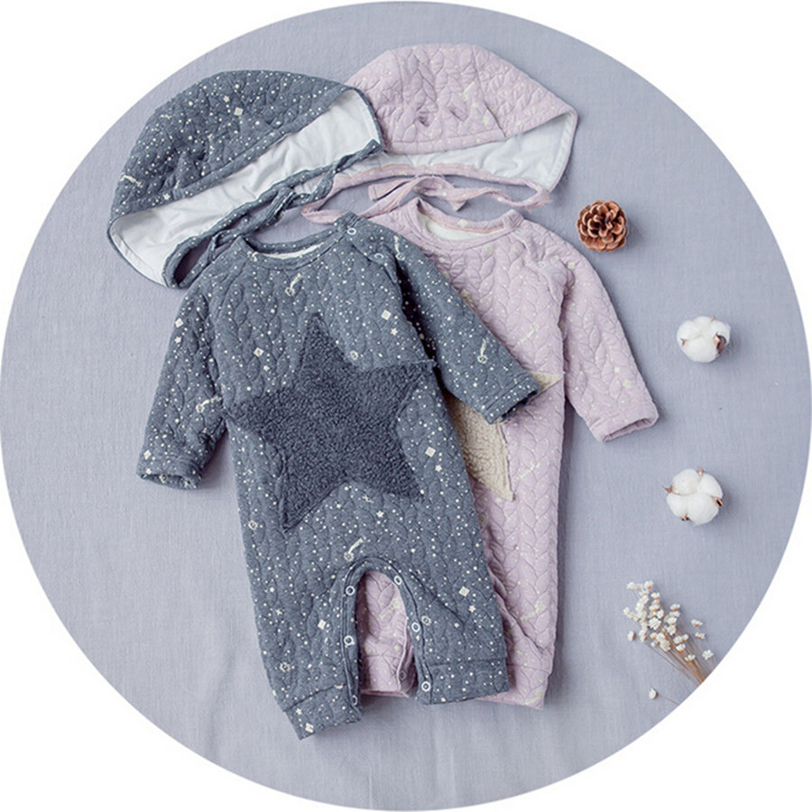 Newborn Baby  Clothes Star Pattern Winter Jumpsuits +Hat Cotton Long Sleeve Baby Girls Rompers Newborn Baby Girl Clothes hhtu baby rompers jumpsuits baby girls clothing children autumn newborn baby clothes cotton long sleeve climb clothes