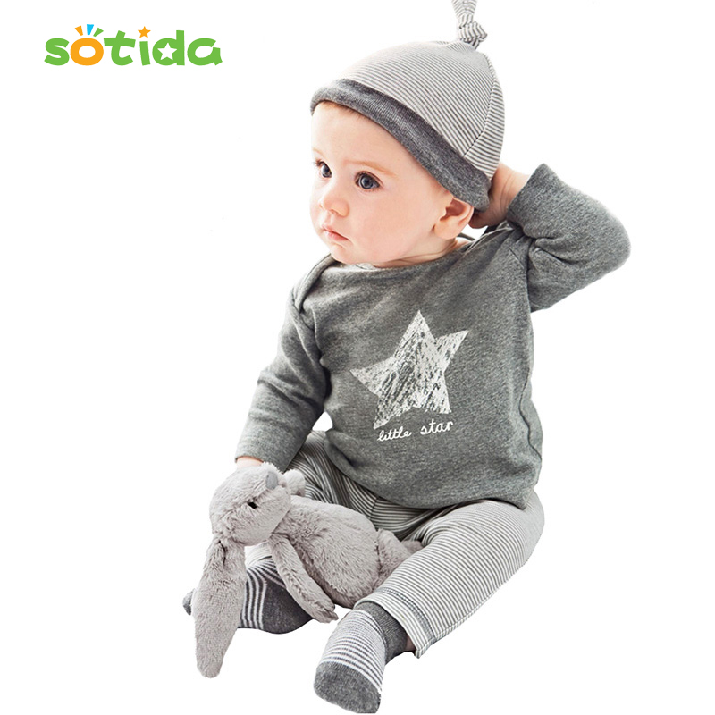 Baby Clothing sets 2018 Spring & Autumn baby boys clothes casual 3pcs (Hat + T-shirt, pants) The stars leisure baby boys clothes kids clothes sets wholesale spring and autumn boys sports leisure suit t shirt hoodie long pants free shipping in stock