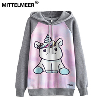MITTELMEER 2018 New Autumn Winter Harajuku Printed Hooded O Neck Printing Cartoon Unicorn Owl Cat Hoodies