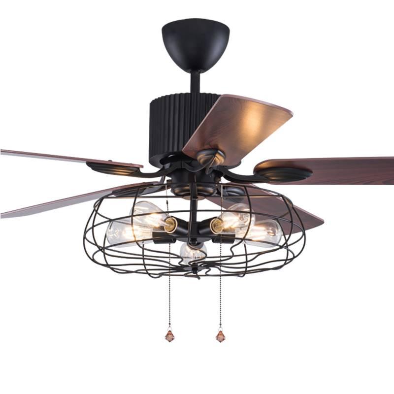 Ceiling Lights & Fans Generous Loft Fan Chandelier Retro Dining Room Household Electric Fan Mute Led Remote Leaf Fan Lamp