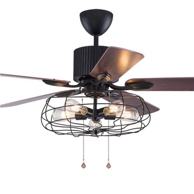 Massivt Loft fan kroonluchter retro eetkamer huishoudelijke elektrische LM74