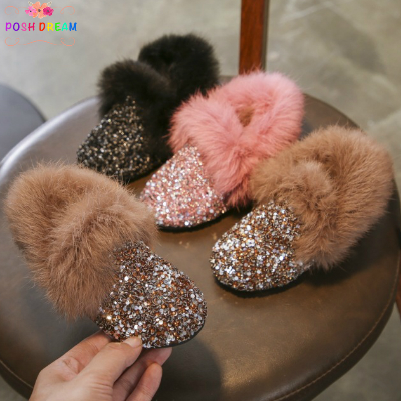 POSH DREAM Girls Sequins Rhinestone Winter Low end Boots Shoes 2018 Rabbit Fur Fashion Winter Boots for Girls Winter Kids Boots