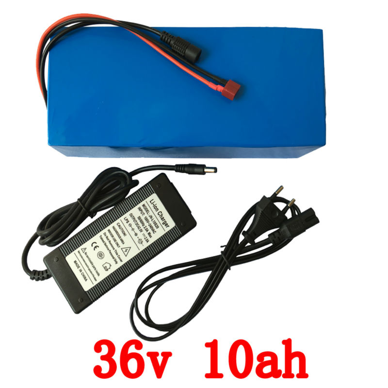 Deep Cycle 500W 36 Volt Electric Bicycle Ebike Battery 36v 10Ah with PVC Cased built in 18650 cell with 15A BMS + 2A Charger free customs taxes high quality skyy 48 volt li ion battery pack with charger and bms for 48v 15ah lithium battery pack