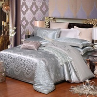 Hot sale Wedding jacquard mulberry silk bedding 100%cotton Embroidered Gray including duvet cover bed sheet pillowcase