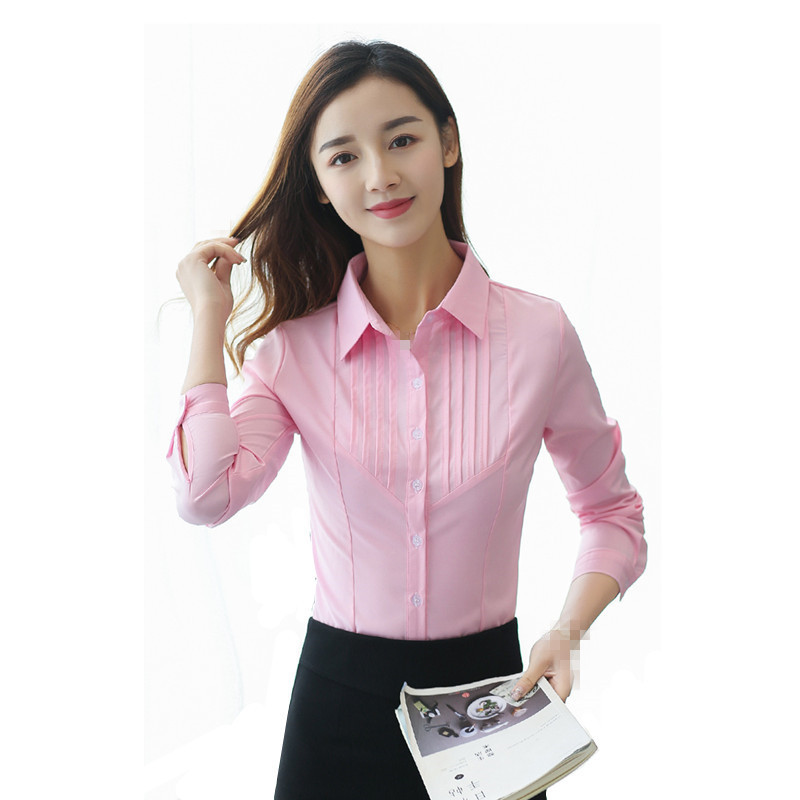B2553 Spring And Summer 2019 New Women Professional Long-sleeved Slim Korean Version Big Size Shirt Cheap Wholesale