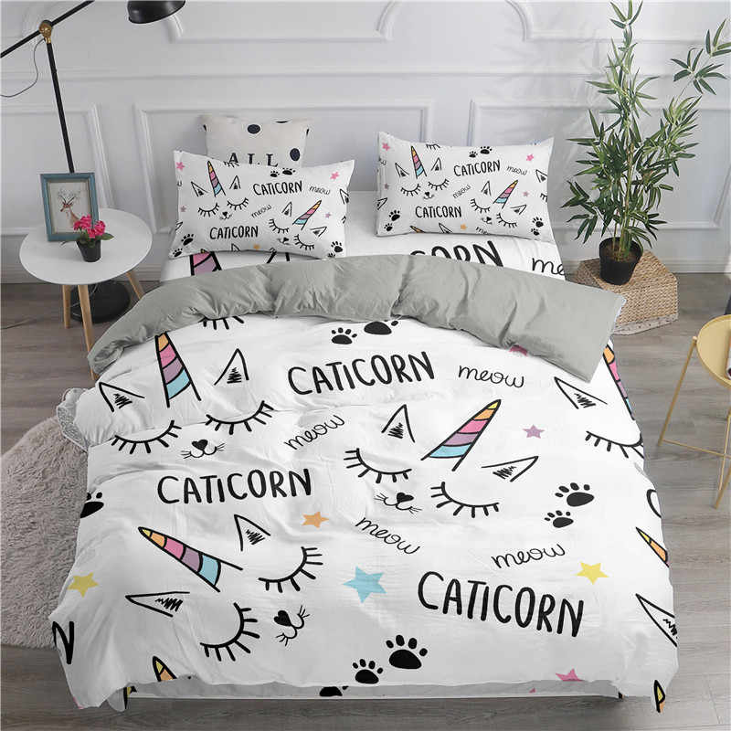 ZEIMON Luxury 3D Bedding Set Unicorn Print Cute Duvet Cover Set For Kids Gift  Bedclothes Comforter Home Textiles Bed Set