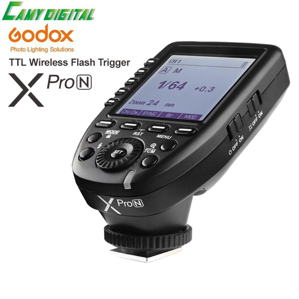 In the Stock New Arrival Godox i-TTL II 2.4G Wireless X system High-speed with Big LCD Screen Transmitter Xpro-N For Nikon yn e3 rt ttl radio trigger speedlite transmitter as st e3 rt for canon 600ex rt new arrival