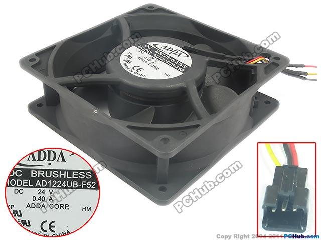 ADDA  AD1224UB-F52  DC 24V 0.40A  , 120X120X38mm Server Square fan аккумулятор for hitatchi 12v 3 0ah ni mh hitachi p 20da r 9 d rb 18 d ub 13d ub 3d 302758 310378 310453 318240 xr hsc eb 1224