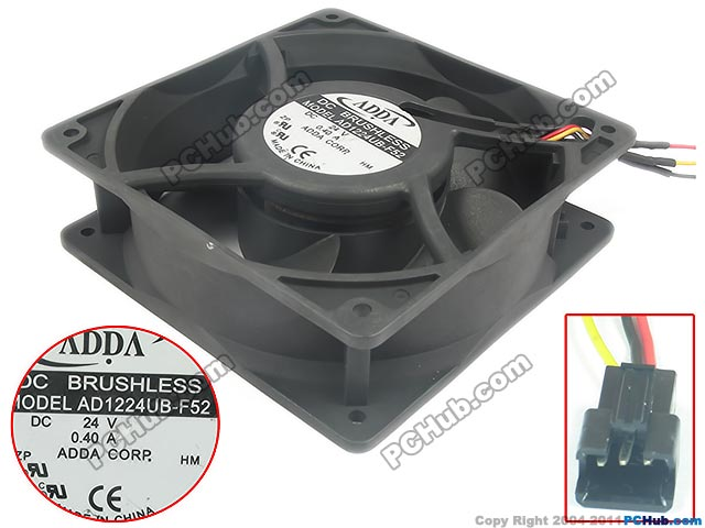 Free Shipping For ADDA  AD1224UB-F52  DC 24V 0.40A 3-wire 110mm, 120X120X38mm Server Square fan free shipping 24v dc mig welding wire feeder motor single drive 1pcs