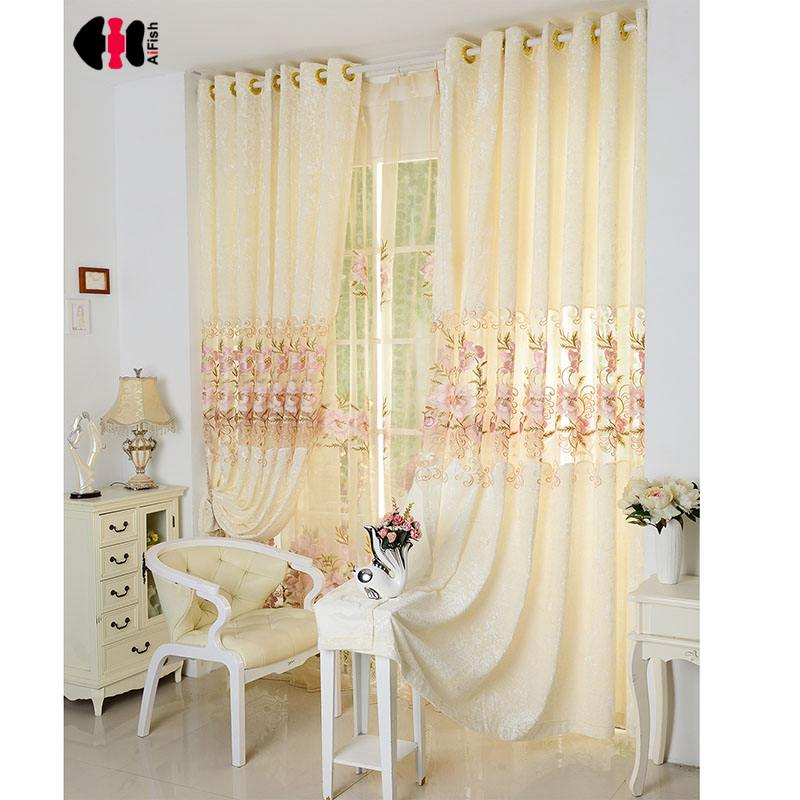 Huayin Velvet Linen Curtains Tulle Window Curtain For: Embroidery Ice Velvet Stitching Curtain Cloth Tulle Luxury